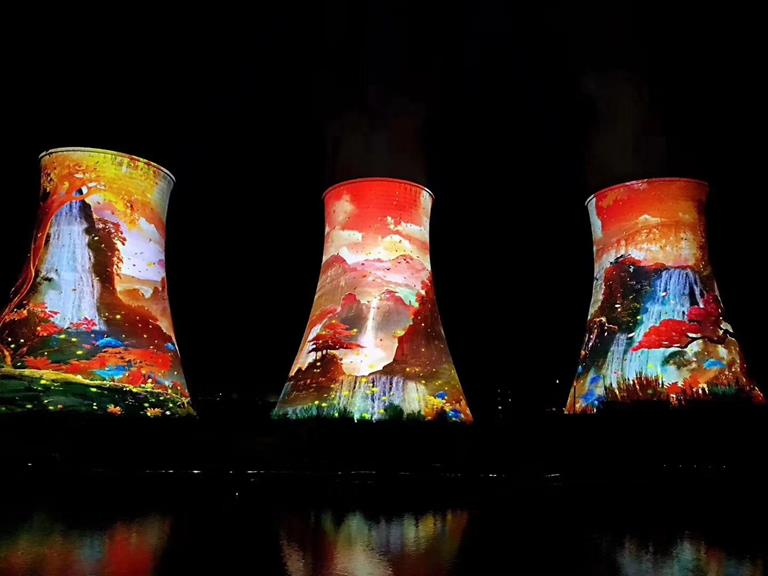 Creating a landmark with Barco projectors on cooling tower