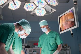 Surgeons performing endoscopic procedure