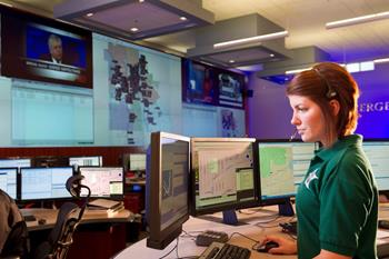 Operator in an emergency operations center
