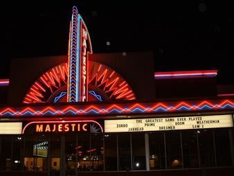 Hallett Cinemas at night
