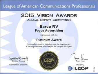 Barco's AR wins platinum at Vision Awards 2015