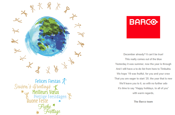 Season's greetings UNICEF & Barco