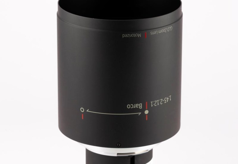 Vertical photo of a motorized GLD lens for Barco installation projectors
