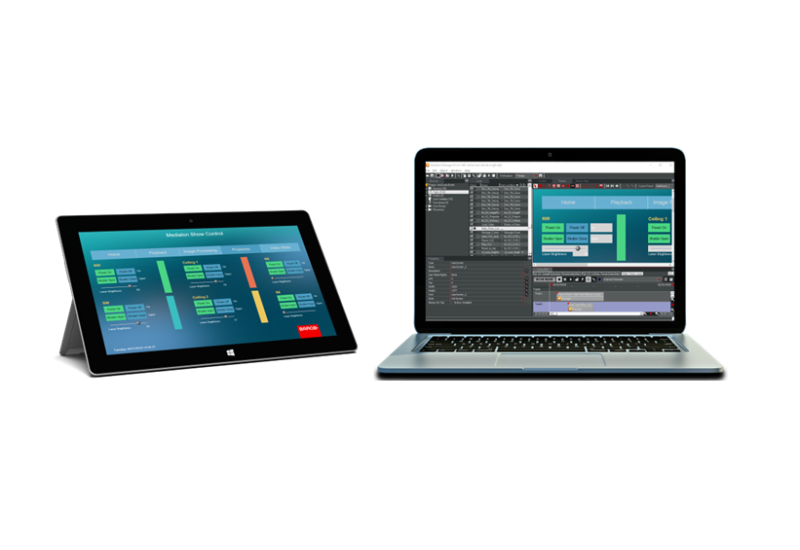 Barco Medialon Manager V6 on tablet and PC