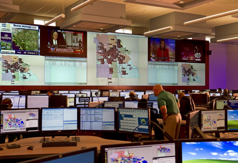 Wide view of Polk County video wall