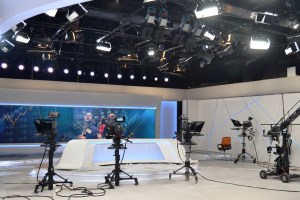 Bright Barco displays for broadcast monitoring and studio backdrop